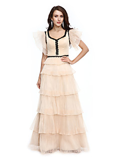 TS Couture Prom / Formal Evening Dress - Celebrity Style Sheath / Column V-neck Floor-length Organza with Appliques Tassel(s) Pleats