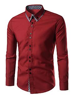Bomull Blå Rød Hvit Sort Langermet,Skjortekrage Skjorte Rutet Vår Enkel Fritid/hverdag