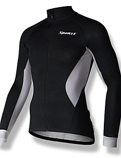 SPAKCT Cycling Jersey Men's Long Sleeve Bike Jersey Quick Dry Breathable YKK Zipper Comfortable 100% Polyester PatchworkFall/Autumn