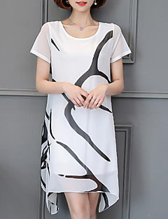 Plus Size Casual/Daily Simple Chiffon Dress,Solid Print Round Neck Above Knee Short Sleeve Acrylic White Black Summer Mid Rise Inelastic