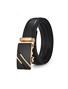 Men's Black Leather Waist Belt Suits Dress Gold Automatic Belt Buckle