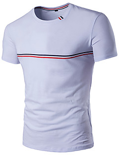 Men's Sports Plus Size Casual/Daily Simple Active Summer T-shirt,Solid Striped Color Block Round Neck Short Sleeve Cotton Rayon Thin