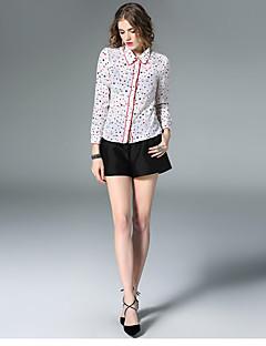 Camicia Da donna Per uscire Casual Semplice Primavera,A pois Fantasia geometrica Collage Colletto Seta Rosso Bianco Manica lunga Sottile