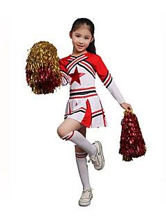 Fantasias para Cheerleader Roupa Crianças Actuação Elastano Pano 2 Peças Manga Comprida Topo Saia