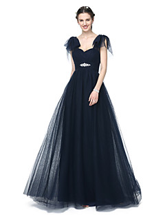 A-Line Off-the-shoulder Floor Length Tulle Bridesmaid Dress with Beading Pleats by LAN TING BRIDE®