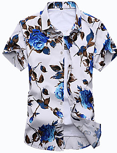 Men's Casual/Daily Beach Simple Boho Summer Shirt,Floral Shirt Collar Short Sleeves Cotton Medium