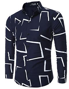 Bomull Blå Hvit Sort Medium Langermet,Skjortekrage Skjorte Ensfarget Blomstret Trykt mønster Vår Høst EnkelFritid/hverdag Arbeid