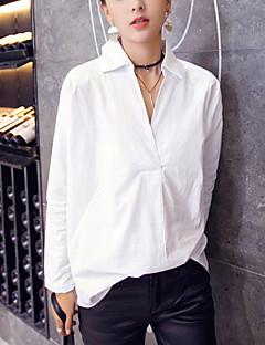 Damen Solide Einfach Arbeit Hemd,Hemdkragen Frühling Langarm Weiß Baumwolle Mittel