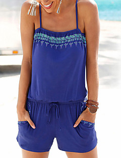 Women's Going out Casual/Daily Simple Vintage Print Strap Rompers,Slim Sleeveless Summer Polyester