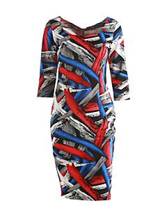 Mulheres Evasê / Bandagem Vestido,Casual / Tamanhos Grandes Vintage / Simples / Moda de Rua Geométrica Decote Quadrado Altura dos Joelhos