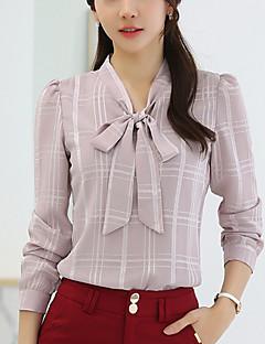 Majica Ženske,Jednostavno Izlasci Plus veličine Karirani uzorak-Dugih rukava Ruska kragna-Proljeće Ljeto Bijela Ljubičasta Srednje