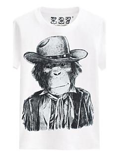 Camiseta Casual Praia Esportivo Cor Única Estampado Verão Algodão Manga Curta