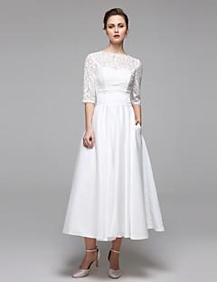 LAN TING BRIDE A-line Wedding Dress - Reception Simply Sublime Tea-length Bateau Lace with Appliques Draped