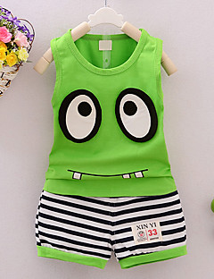 Boy's Going out Casual/Daily Sports Striped Print Sets Cotton Summer Sleeveless Pants 2 Piece Clothing Set Children's Garments