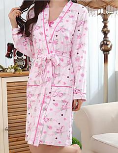 Feminino Conjunto Roupa de Noite,Estampado Floral Algodão