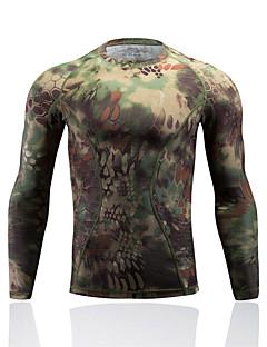 Homens Camiseta de Corrida Manga Longa Térmico/Quente Secagem Rápida Resistente Raios Ultravioleta Anti-Estático Respirável Filtro Solar