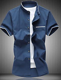 Bomull Kortermet,Skjortekrage T-skjorte Fargeblokk Enkel Fritid/hverdag Herre