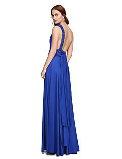 LAN TING BRIDE Gulvlang Enskuldret Stroppeløs V-hals Brudepikekjole - Konvertibel kjole Ermeløs Jersey