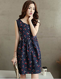 Cherry printed cotton dress 2017 new long section of Korean women summer sleeveless vest skirt