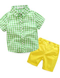 Jungen Sets Lässig/Alltäglich Hahnentrittmuster Baumwolle Sommer Kleidungs Set