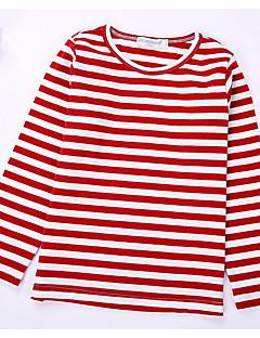Fritid/hverdag T-skjorte Stripet Bomull Vår Høst Langermet Normal