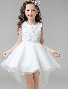Ball Gown Asymmetrical Flower Girl Dress - Cotton Satin Tulle Jewel with Appliques Bow(s) Crystal Detailing