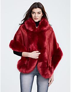 Vrouwen Street chic Winter Bontjas,Casual/Dagelijks Wijde col-Driekwart mouw Rood / Wit / Zwart / Grijs Effen Medium Polyester