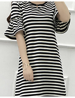 Dames Vintage Eenvoudig Overhemd,Casual/Dagelijks Effen Gestreept Ronde hals Driekwart mouw Katoen