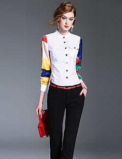 Langærmet Høj krave Medium Damer Ensfarvet Farveblok Forår Efterår Simpel Sødt Sofistikerede I-byen-tøj Formelle Arbejde Skjorte,Bomuld