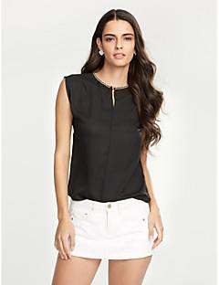 Mulheres Blusa Casual Simples / Moda de Rua Verão,Sólido Branco / Preto Poliéster Decote V Sem Manga Fina