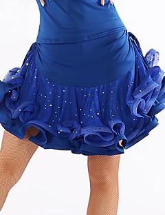 Latinské tance tutu a sukně Dámské Výkon Tyl Süt Filtresi Nařasený Flitry Jeden díl Přírodní Sukně