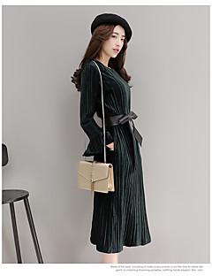 Γυναικείο Καθημερινά Εκλεπτυσμένο Swing Φόρεμα,Μονόχρωμο Μακρυμάνικο Στράπλες Πάνω από το Γόνατο Ρεϊγιόν Πολυεστέρας Άνοιξη Φθινόπωρο