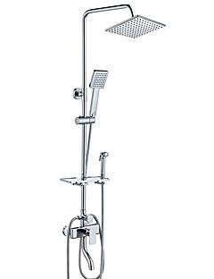 現代風 アールデコ調/レトロ風 センターセット 滝状吐水タイプ レインシャワー ハンドシャワーは含まれている 引出式スプレー with  セラミックバルブ シングルハンドル二つの穴 for  クロム , シャワー水栓