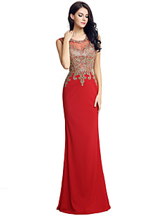 Formal Evening Dress Trumpet / Mermaid Jewel Floor-length Velvet with Embroidery