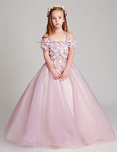 В пол Тюль Подростковое праздничное платье Принцесса Вырез лодочкой с Аппликации