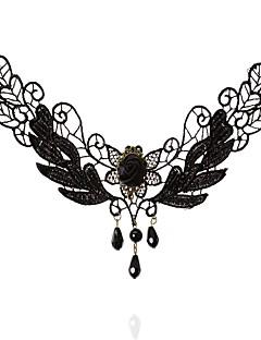 Pentru femei Coliere Choker Oval Shape Crown Shape Dantelă La modă Turcă Clasic Negru Bijuterii PentruNuntă Petrecere Ocazie specială Zi