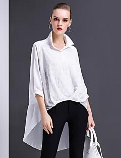 Damen Solide Stickerei Einfach Street Schick Ausgehen Lässig/Alltäglich Arbeit Hemd,Hemdkragen Frühling Sommer ¾-Arm Polyester Dünn