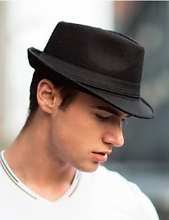Men Woolen Jazz Hat Fedora Hats Jazz Caps Flat Top Hat Brief Style Hat