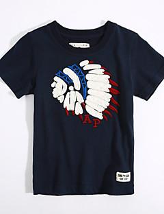 Fritid/hverdag T-skjorte Geometrisk Bomull Sommer Kortermet