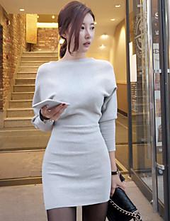 Damă Logodnă Casul/Zilnic Sexy Linie A Rochie-Culoare solidă Manșon Lung Rotund Deasupra Genunchiului, Mini N/A Primăvară Toamnă Talie