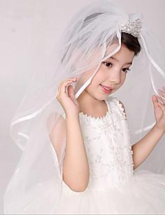 Véus de Noiva Duas Camadas Véus de Primeira Comunhão Borda Lápis Tule