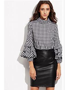 여성 솔리드 라운드 넥 긴 소매 셔츠,심플 캐쥬얼/데일리 비치 휴일 면 봄 여름 얇음