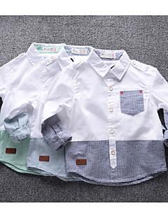 Skjorte I-byen-tøj Afslappet/Hverdag Farveblok,Bambus Fiber Forår Langærmet Normal