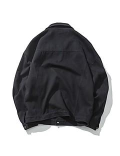 Damen Solide Einfach Lässig/Alltäglich Jeansjacke,Quadratischer Ausschnitt Frühling Langarm Kurz Baumwolle