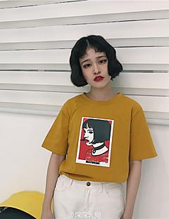 レディース カジュアル/普段着 16歳誕生日 学校 デート バケーション ファミリーパーティー 夏 Tシャツ,ヴィンテージ ラウンドネック 3D印刷 コットン 半袖 ミディアム