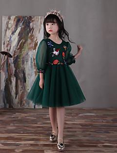 A-line ברך אורך פרח ילדה שמלה - tulle 3/4 אורך שרוולים תכשיט צוואר עם פרח
