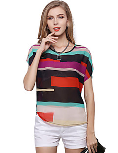 Women's Plus Size Casual/Daily Simple Cute Spring Summer Blouse,Rainbow Patchwork Round Neck Short Sleeve Polyester Translucent Thin