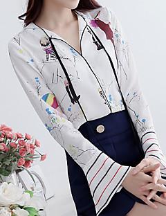 Langærmet V-hals Medium Damer Trykt mønster Farveblok Forår Sommer Simpel I-byen-tøj Afslappet/Hverdag Skjorte,Polyester