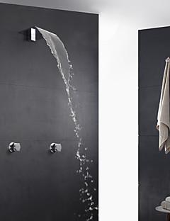 現代風 アールデコ調/レトロ風 近代の バスタブとシャワー 滝状吐水タイプ サーモスタットタイプ ハンドシャワーは含まれている with  真鍮バルブ 二つのハンドル三穴 for  クロム , シャワー水栓
