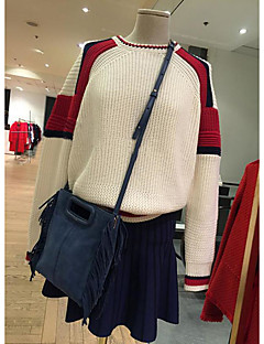 Normal Pullover Fritid/hverdag Enkel Dame,Fargeblokk Rund hals Langermet Polyester Vår Medium Mikroelastisk